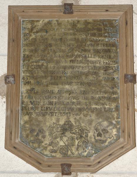 Inscription funéraire de Jean de Voisines, seigneur de Châteauvieux, et Renée du Plessis