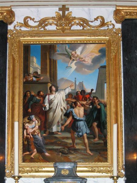 Retable et son tableau : Le Martyre de saint Etienne