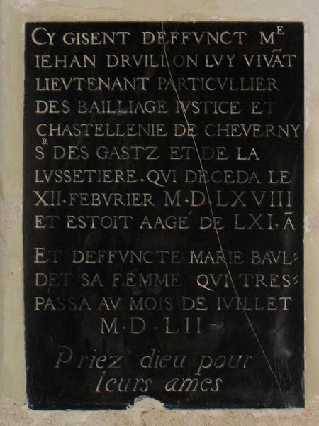 Inscription funéraire de Jean Druillon et Marie Bauldet