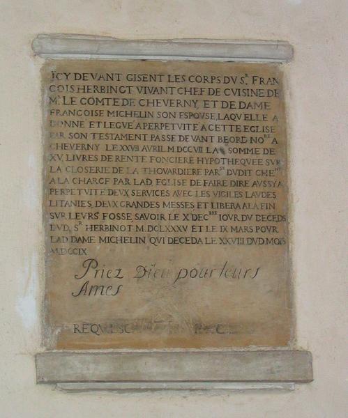 Inscription funéraire de François Herbinot et François Micheline