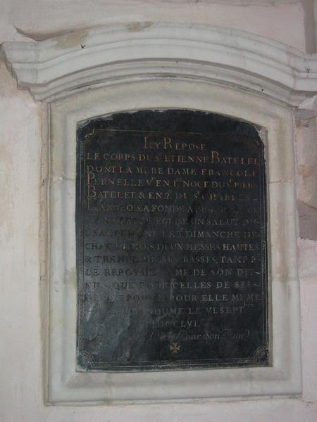 Inscription funéraire d'Etienne Batelet, Françoise Pernelle, Pierre Batelet et Charles Hangeois