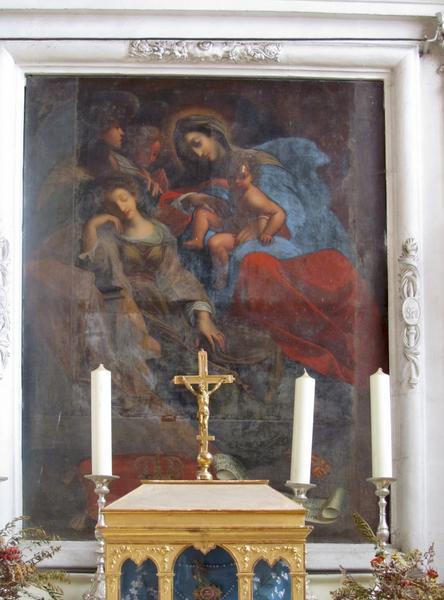 Autel latéral et son retable avec tableau : Sainte Radegonde