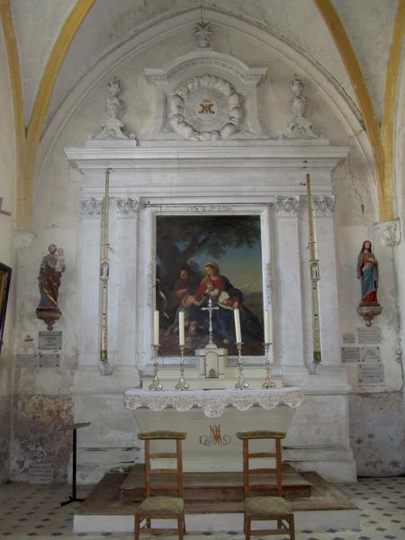 Autel latéral et son retable avec tableau : Sainte Famille