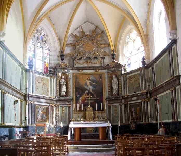 Retable, maître-autel, tabernacle et tableau : Résurrection du Christ
