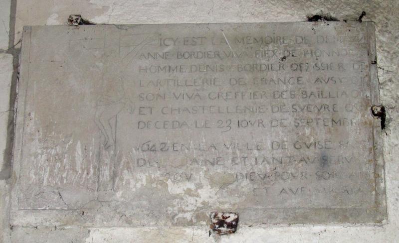 Inscription funéraire d'Anne Bordier