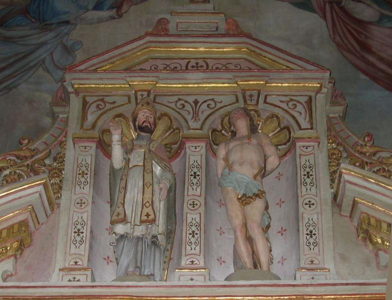 Deux statues : Saint Lubin et Saint Sébastien