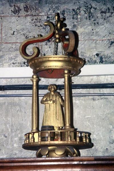 Trois bâton de procession de confrérie : Saint Vincent, Christ bénissant, Evêque