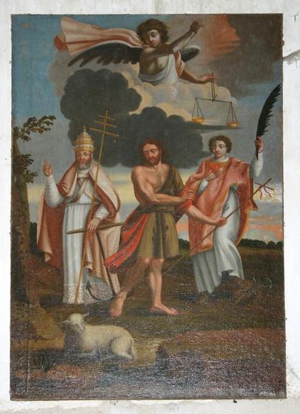 Tableau : Saint Jean-Baptiste avec saint Clément et un diacre (saint Etienne ?)