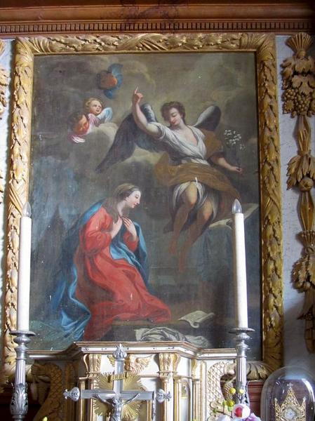 Maître-autel et son retable, tableau : Annonciation et clôture de choeur (grille de communion)
