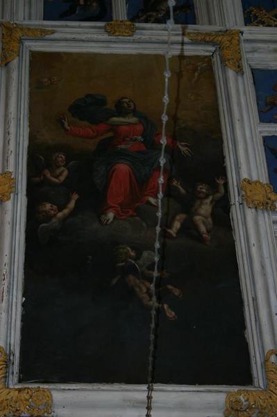 plafond à caissons, vue générale du tableau centrale: Assomption de la Vierge (l')
