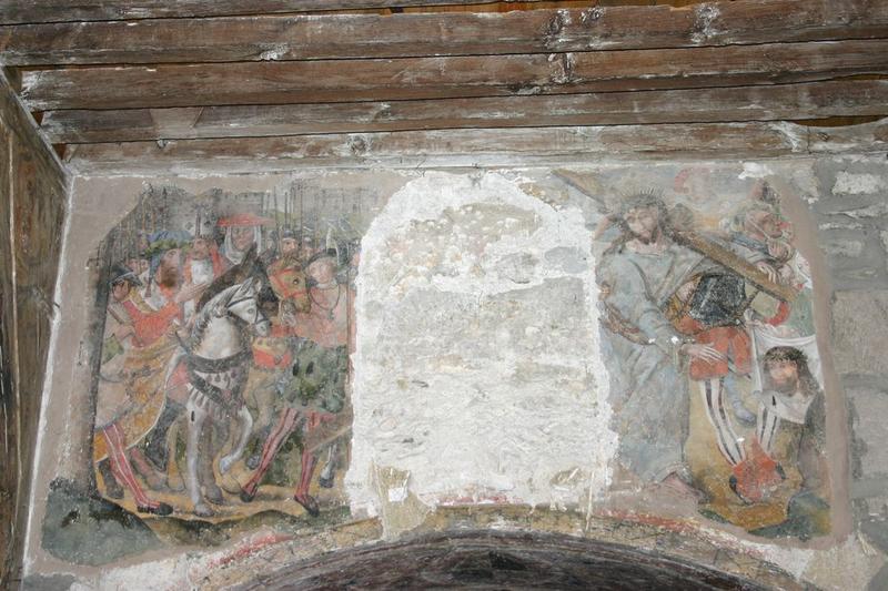 Décor peint de la chapelle de la Vierge : la Montée au Calvaire, la Crucifixion
