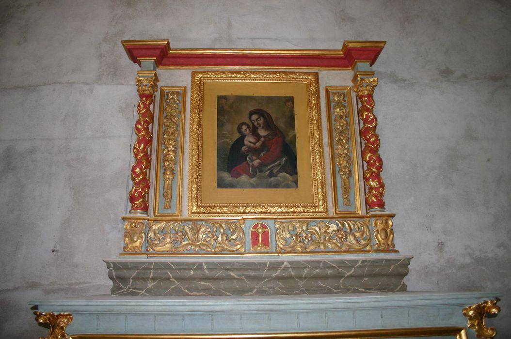 Toile du retable du maître-autel : Vierge à l'Enfant.