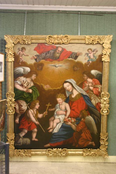 Tableau et son cadre : Vierge à l'Enfant avec saint Jean-Baptiste