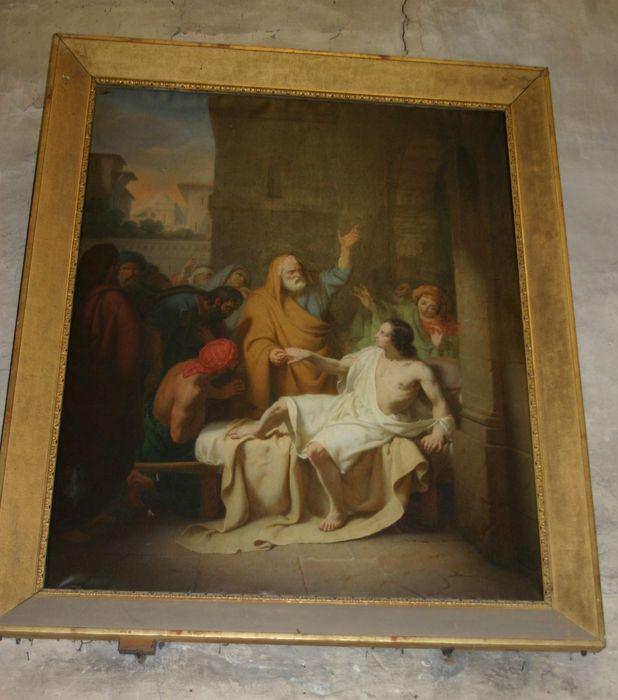 Tableau et son cadre : saint Pierre guérissant un paralytique