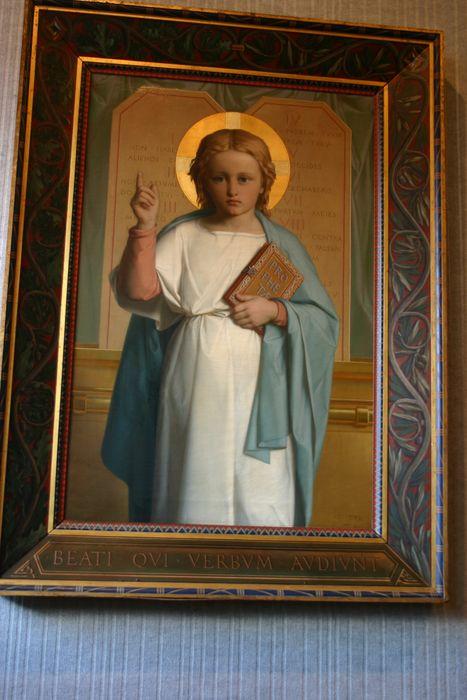 tableau et son cadre : L'Enfant Jésus enseignant