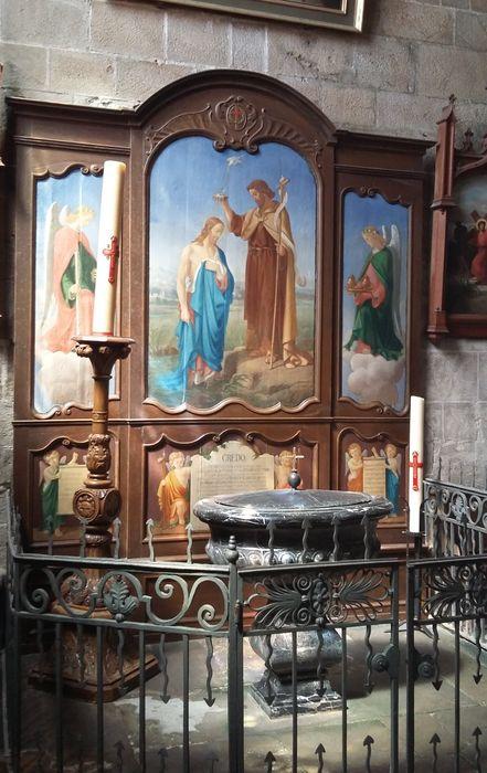 Retable des fonts baptismaux et six tableaux