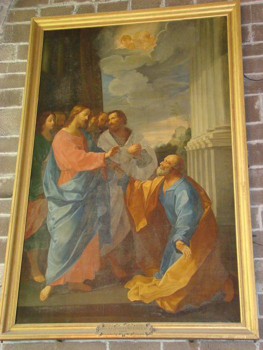 Tableau et son cadre : Le Christ donnant à saint Pierre les clés de l'Eglise