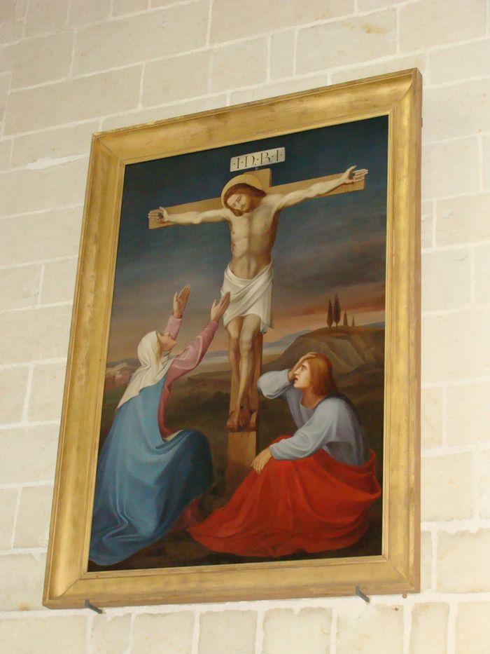 tableau : Le Christ en croix entre la Vierge et saint Jean