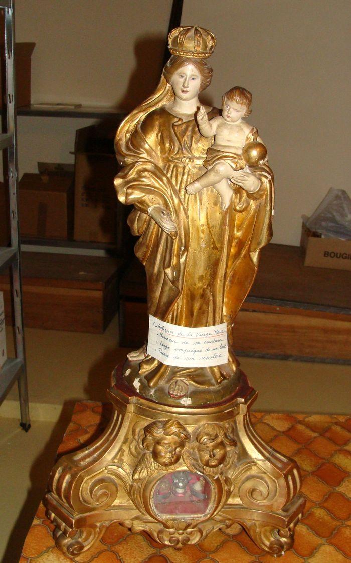 Statue (statuette) et son socle-reliquaire : Vierge à l'Enfant