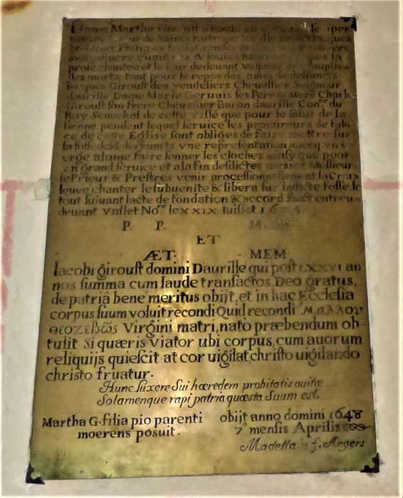 plaque commémorative (plaque de fondation) de la famille Giroust