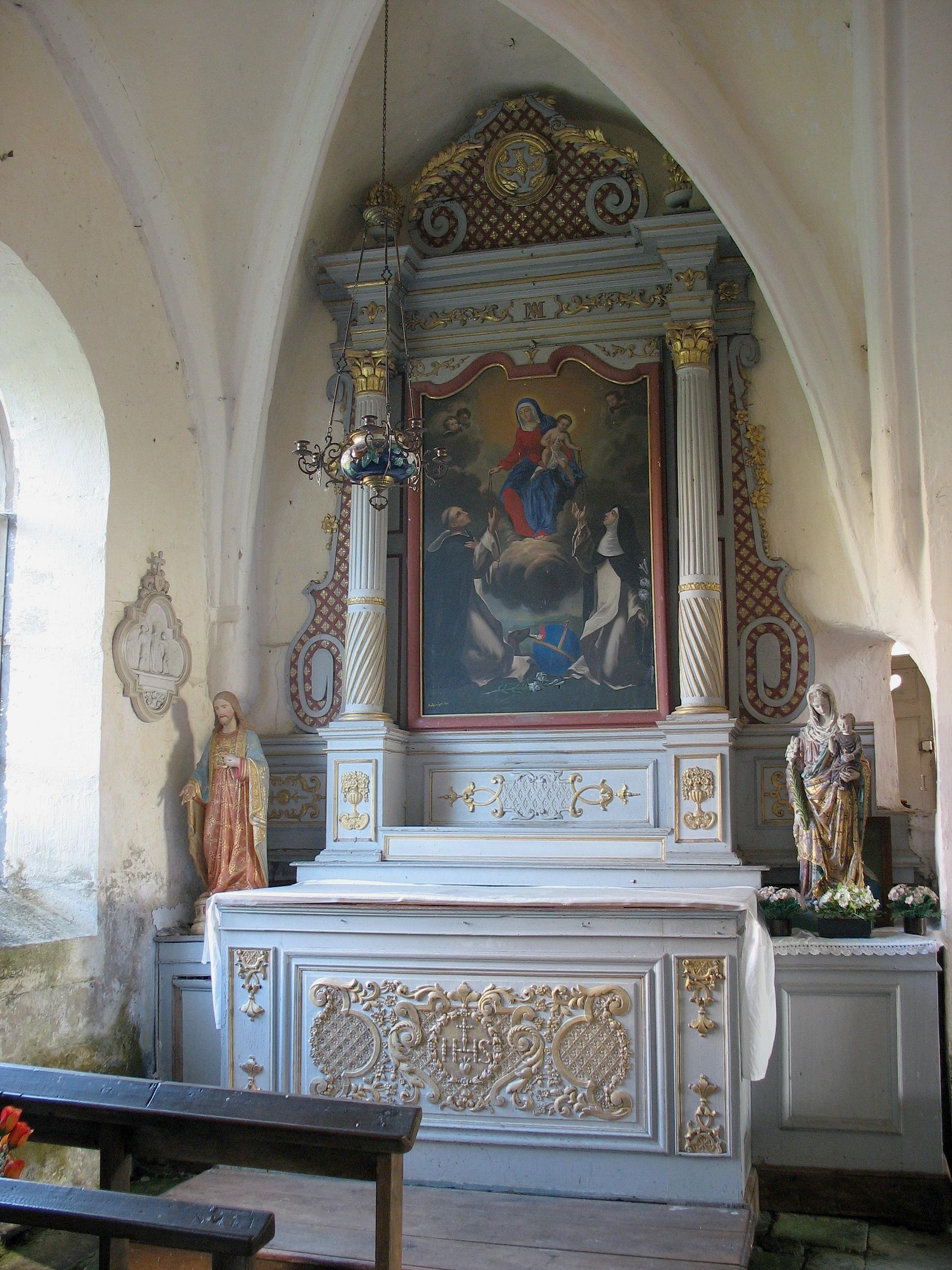 Autels secondaires du Rosaire et du Sacré-Coeur