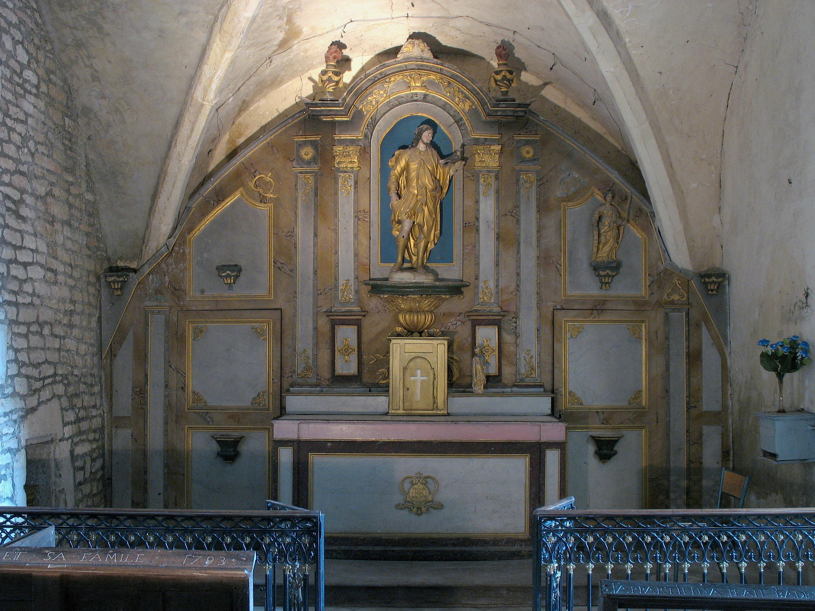 Retable secondaire et sa statue (Saint Thibault de Provins)
