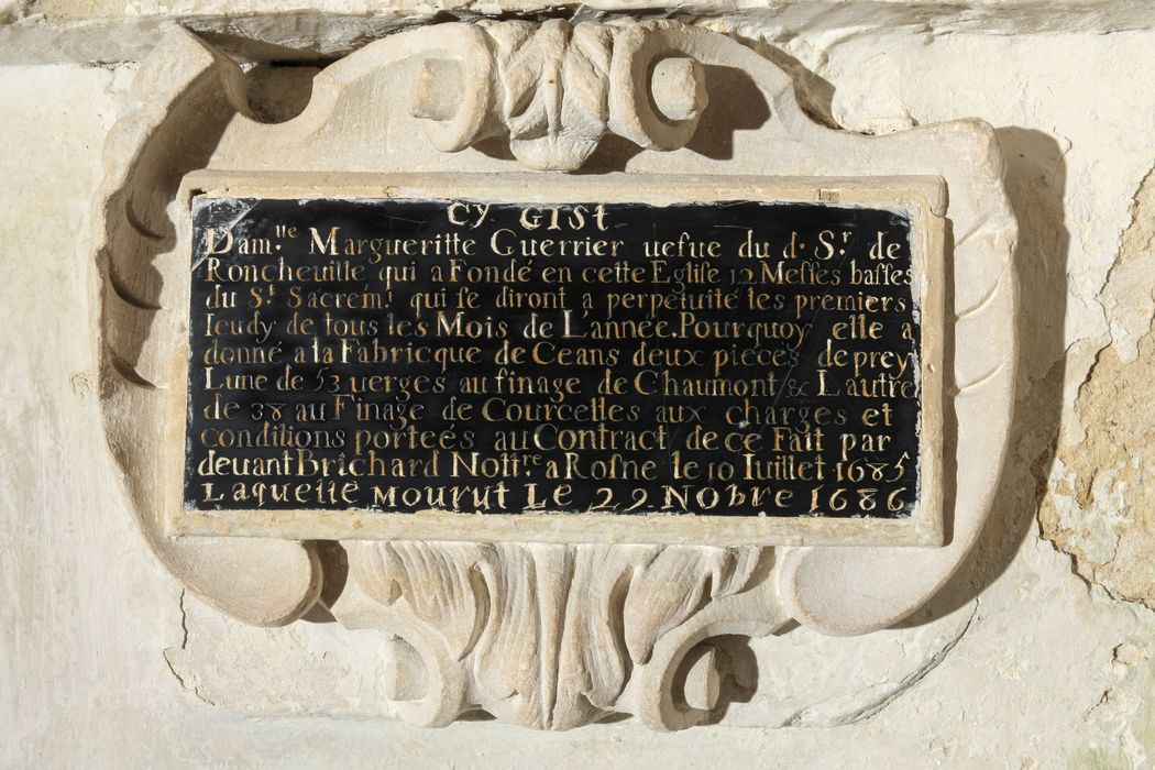 inscription funéraire de Marguerite Guerrier