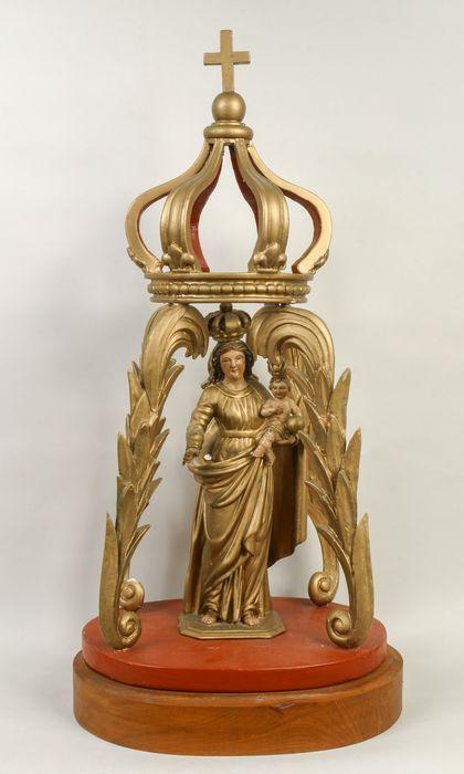bâton de procession (statuette) : Vierge à l'Enfant