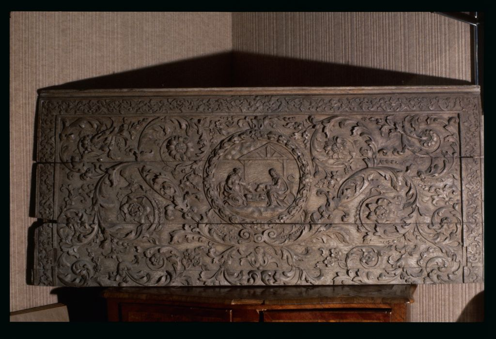 devant d'autel : Panneau en chêne représentant la Nativité