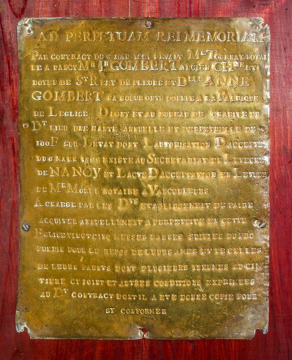 plaque commémorative : Plaque de fondation de messes