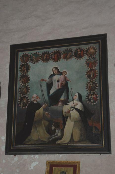 Retable du croisillon sud, peintures (panneaux peints) : Saints personnages et son tableau : Le Rosaire