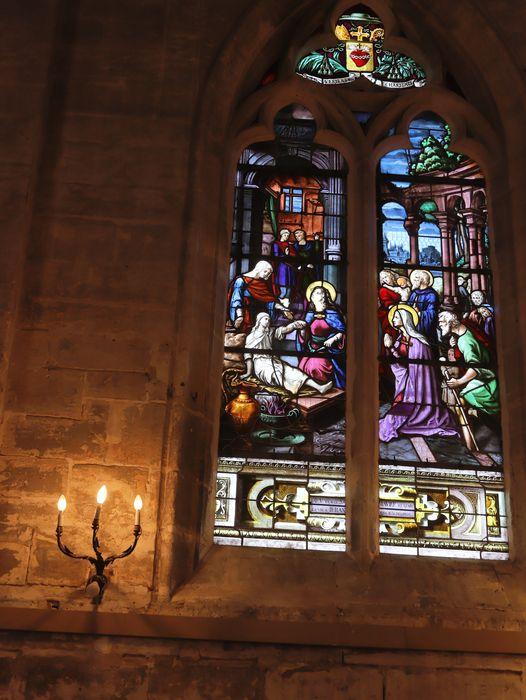 Verrière (baie 1) : Miracle des saintes, résurrection de Jean, fils d'Aldegonde