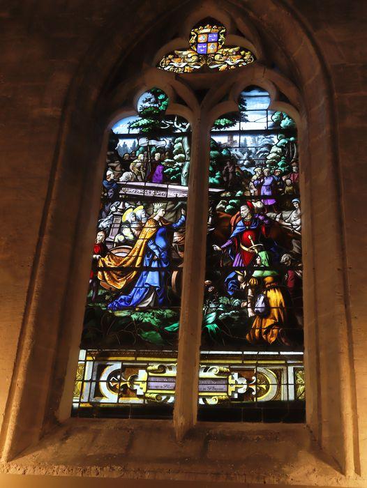 Verrière (baie 2) : Translation à Nogent-sur-Oise par sainte Bathilde, des coprs de sainte Maure et de sainte Brigide
