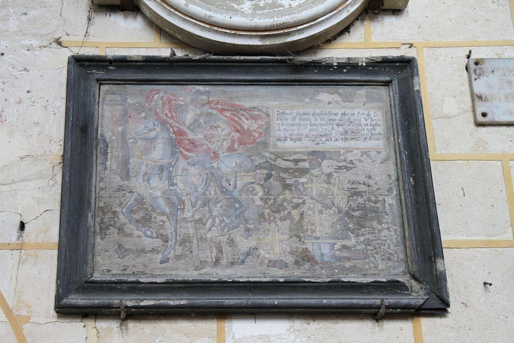 Tableau de fondation d'obit et son cadre : Charité de saint Martin