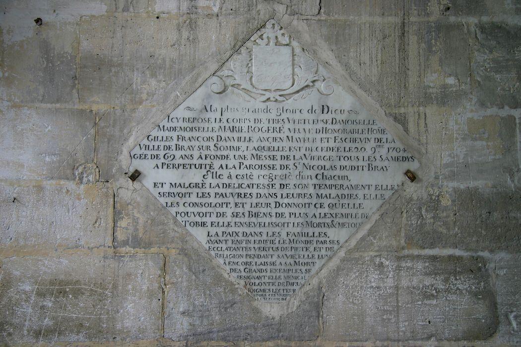 Dalle funéraire de Marie Rogere et Gilles François Danville