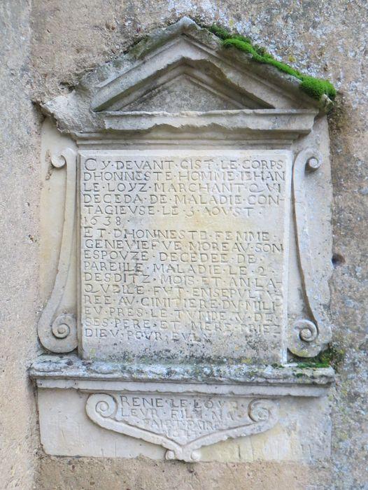 Plaque funéraire de Jehan Le Loyz et Geneviève Moreau
