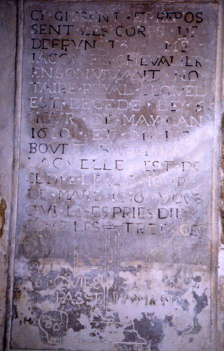 Plaque funéraire de Jacques Chevalier et Marie Bovet