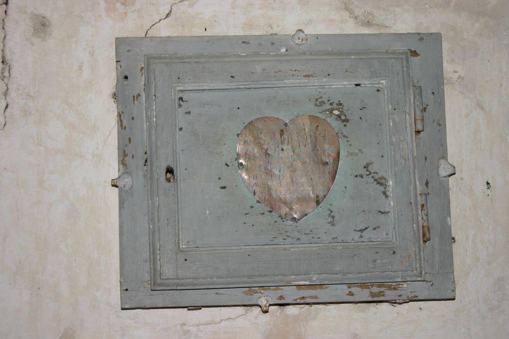 Placard et plaque funéraire du coeur de Louise de Lonblon