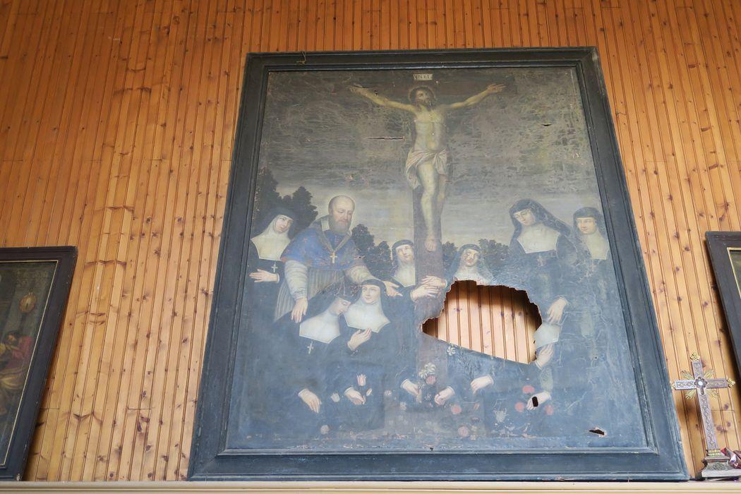 Tableau et son cadre : Crucifixion avec saint François de Sales et les soeurs de l'ordre de la Visitation