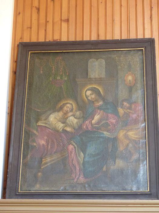 Tableau et son cadre : Vierge protégeant le sommeil de l'Enfant Jésus