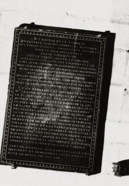 Plaque funéraire de Claude Quartier, curé de Saint-Martin de Chablis