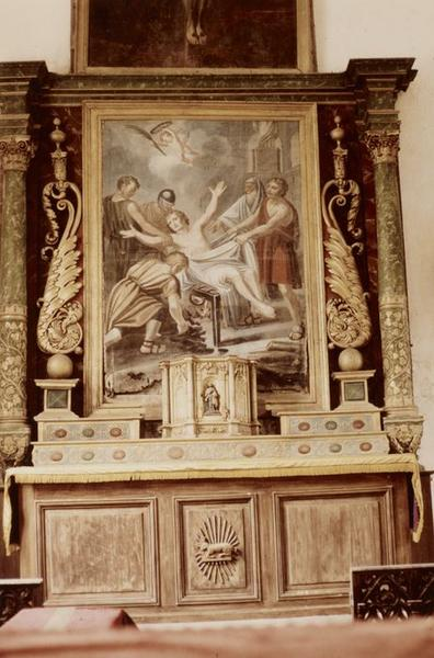 retable du maître-autel ; tabernacle ; tableau : Martyre de saint Laurent