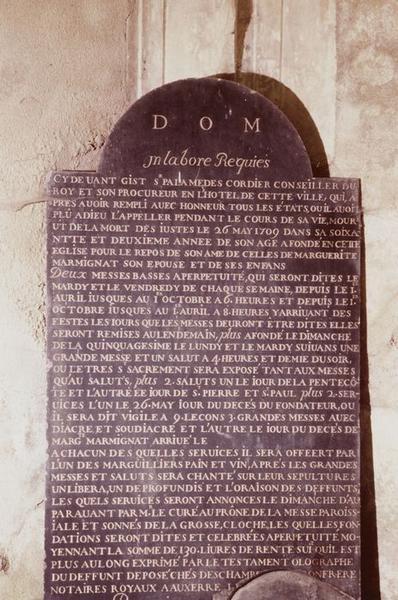 Plaque funéraire : inscription funéraire de Palamèdes Cordier (+26.05.1709)