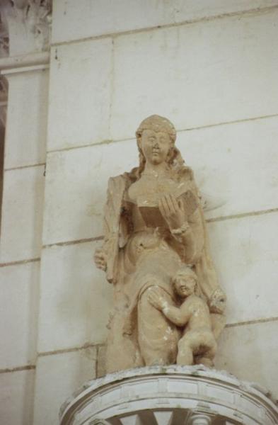 statue : Sainte martyre avec enfant nu (saint Cyr et sainte Julitte ?)