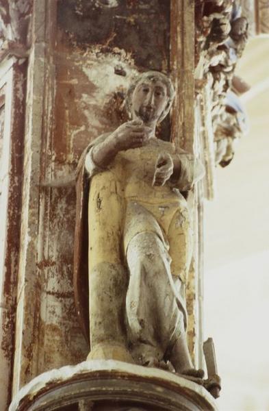 Statue : Saint à la colonne (saint Simplice ?)