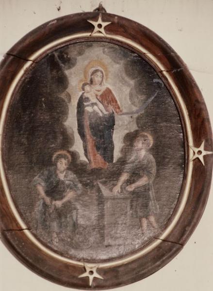 Tableau : Vierge à l'enfant apparaissant à saint Crépin et saint Crépinien