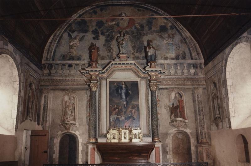 Peinture monumentale : Père éternel adoré par les anges, saint Pierre, saint Paul, saint Jean-Baptiste, saint (?), Annonciation