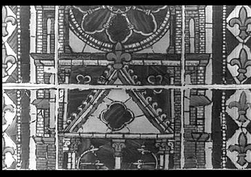 Croquis d'un vitrail de l'abside par Poncis Simon, baie 200, fenêtre centrale; lancette de gauche
