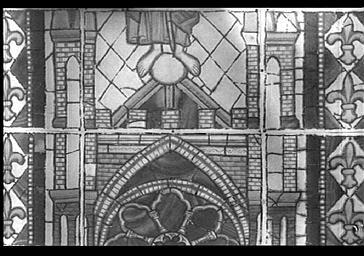 Croquis de vitrail de l'abside, représentation de l'église de reims, par Poncis Simon, baie 200, fenêtre centrale, lancette de gauche