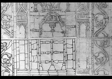 Croquis d'un vitrail de l'abside, représentation de l'église de Laon, par Poncis Simon, baie 201, 5e fenêtre à gauche, première baie, lancette de droite, partie inférieure